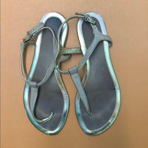 Ralph Lauren Abegayle Gold Suede Sandals